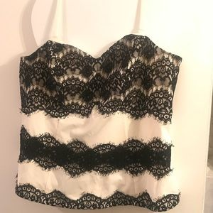 Black lace & white satin top